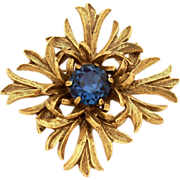 Benedikt of New York Antiqued Maltese Cross Blue Stone Vintage Pin