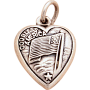 "WWII era God Bless America Sterling Puffy Heart Charm USA Patriotic Flag Engraved ""Winsto"