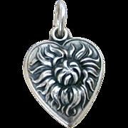 Old Fashioned Shaggy Mum 1940's Sterling Puffy Heart Charm Chrysanthemum, Pom Pom Flower Engra