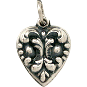 Raised Baroque Design on Sterling Puffy Heart Charm for Vintage Lovers Bracelet Engraved Name