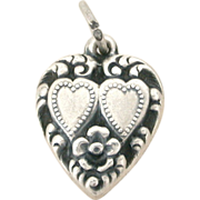 Lover's Double Hearts Sterling Puffy Heart Charm 1940's Vintage Bracelet Charm