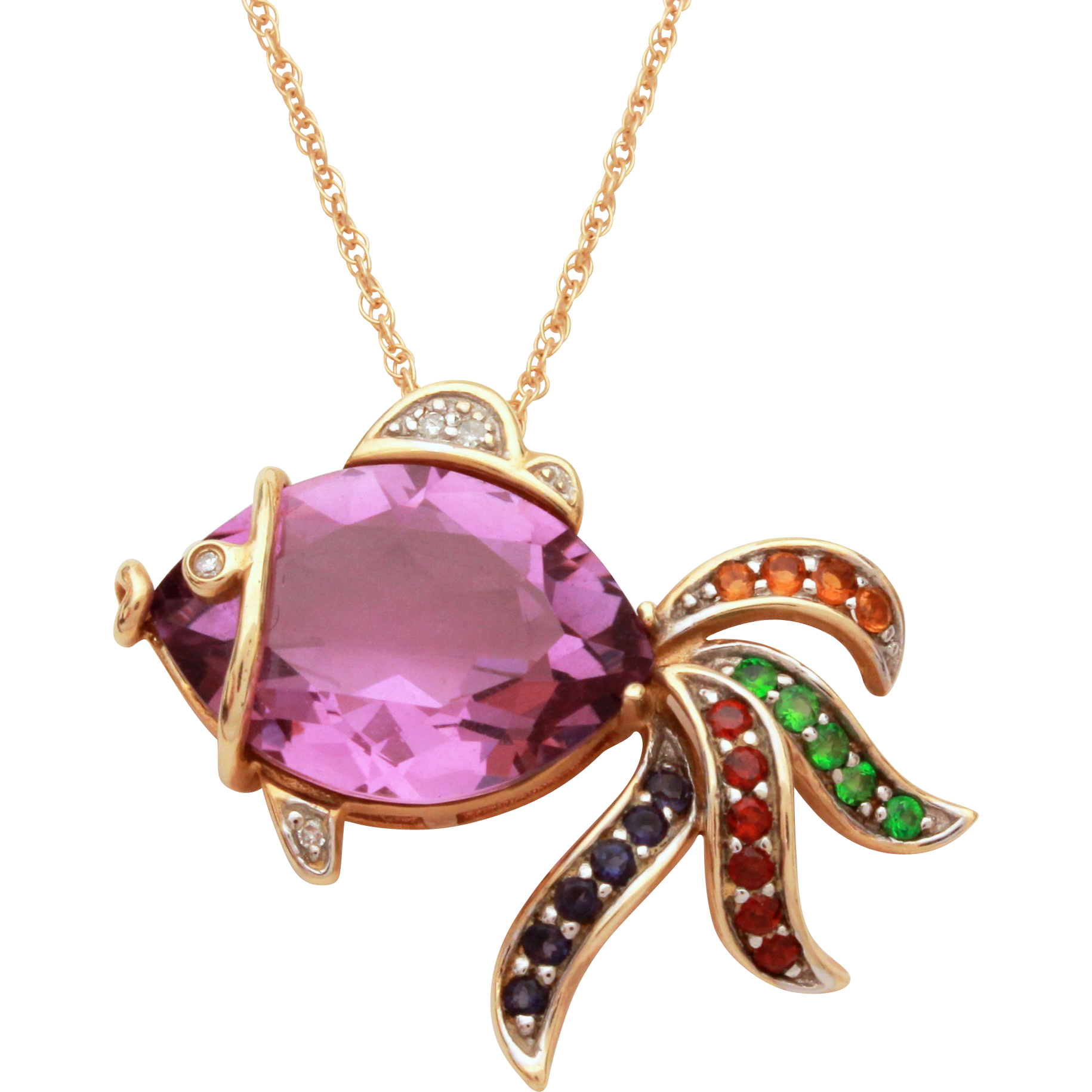14k gold jeweled fish necklace pendant with amethyst for Gold fish pendant