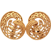 TRIFARI Gold Tone Clip Back Earrings Sweeping Openwork Design Twisted Wire Details - Day to Ni