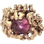 Vintage 1960s to 70s Organic Modernist Brutalist Gold Washed Sterling Silver Ring Amethyst Cabochon Stone