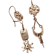 Sterling Cowboy Boot Spur Earrings, Pierced Dangle Silver Southwest Spurs