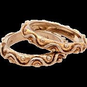 JJ Marco Sterling Designer Stack Rings, Gold Washed Wavy Design, Size 5 3/4