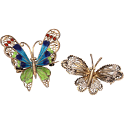800 Silver Filigree Butterfly Pin Pair - Large Enamel & Small Lacy - Bug Brooches