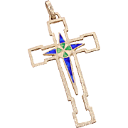 800 Silver Enamel Pendant Cross, Enameled Green & Blue, Reversible