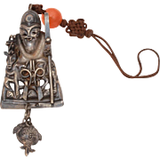 Antique Chinese Hat Ornament Immortal Deity with Shepherds Crook & Deer, Dangle Pomegranate Charm