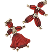 TRIFARI 1949 Pom Pom & Tom Tom Girl and Boy Rag Doll Pin Set - Ruby Red Poured Pressed Glass R