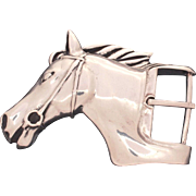 Circa 1980 Barry Kieselstein Cord Sterling Heavy Large Horse Head Equestrian Belt Buckle, 129