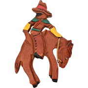 """1940s Cowboy on Bucking Bronc Carved Wood Pin, Large Wooden Brooch 4.5"""""""