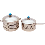 Navajo Miniature Kitchen Pot and Pan with Lids Sterling & Turquoise Signed by Artist Elizabeth