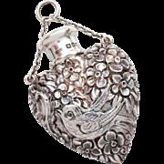 SALE PENDING Rare Antique Chatelaine Perfume Flask by Sampson Mordan & Co, Heart Shape Bottle