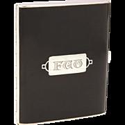 Art Deco Sterling Black Enamel Cigarette Case by Webster, Engraved Monogram FGO