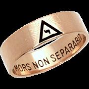 10k Gold & Black Enamel 14th Degree Masonic Yod Ring, Scottish Rite Masons, Size 10 1/4