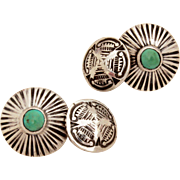 Navajo Sterling & Green Turquoise Cufflinks, Early Native American Silver Cuff Links