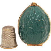 Ernest Steiner Green Enamel Brass Walnut Sewing Kit, Thimble Case or Holder, Vintage Sewing Et