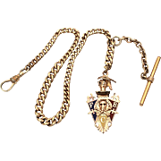SOLD Antique Knights of Pythias Enamel Watch Fob on Curb Link Watch Chain