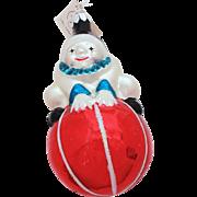 Christopher Radko Ornament, Roly Poly Clown Christmas Tree Ornament, Vintage Christmas, Undisp