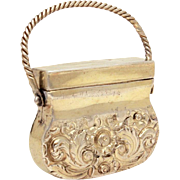 Georgian Silver Vinaigrette circa 1820 by Ledsam Vale & Wheeler, Sterling Novelty Purse Shape Vinaigrette, George IV Silver