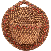 Vintage Native American Pine Needle Wall Basket, Match Holder, Hanging Basket, Wall Pocket, Ha