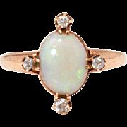 Antique 14k Opal Diamond Ring, Mine Cut Diamonds, Vintage Edwardian Ring, October Birthstone,