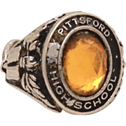 Pittsford High School Miniature Class Ring Bracelet Charm, Vintage Sterling Charm, Small Neckl