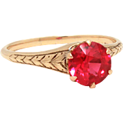 Antique Ruby 14k Gold Ring, Crown Setting, Synthetic Ruby, Wedding Engagement Ring, 14K Yellow