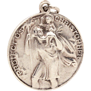 Vintage Sterling St. Christopher Medal Signed BB, Patron Saint Bachelors Travelers, Catholic .