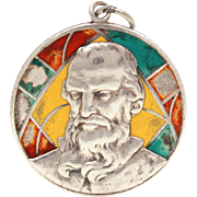 Saint Jude Thaddeus Catholic Medal Sterling Enamel Stained Glass Window, St. Jude Twelve Apost