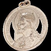 Sacred Heart of Jesus Sterling Medal, Vintage Catholic Medal, Sweet Heart of Jesus Have Mercy,