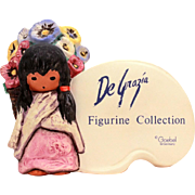 Vintage DeGrazia Goebel Display Store Shop Sign Advertising, DeGrazia Flower Girl Figurine Col