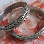 SALE Pair of Asian Silver Toned Bracelets   Signed
