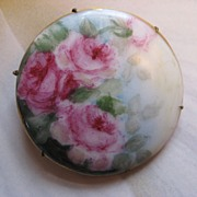 SALE Victorian Hand Painted Porcelain Pin
