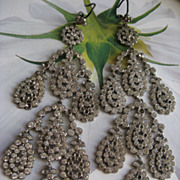 Victorian Paste Shoulder Duster Pierced Earrings    Paypal Not accepted on This Item