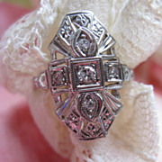SALE Art Deco 14K white Gold Diamond Ring