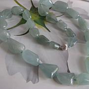 SALE Aqua Marine Beaded Necklace 14K Clasp   March Birthstone