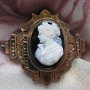 Victorian Cameo Pin in Gold Fill