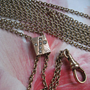 Antique Ladies Watch Chain Seed Pearl Religious Slide