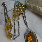 Art Deco Faceted Amber Crystal Filigree Necklace