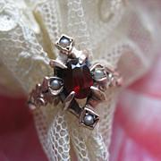 SALE Antique Garnet seed Pearl Ring 10K