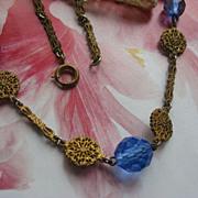 SALE Circa 1930 Crystal Filigree Necklace