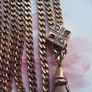 Antique Ladies Watch Chain Jeweled Slide