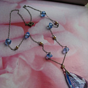 Art Deco Etched Crystal Necklace