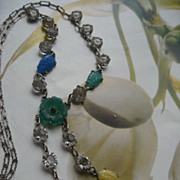 SALE Sterling Pressed Glass & Crystal Necklace