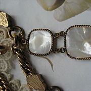 Victorian Watch Chain Mother Of Pearl Fob