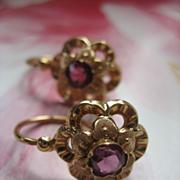 Victorian 10K Ruby Paste Earrings   European