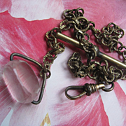 Victorian Watch Chain with Faceted Spinner Fob