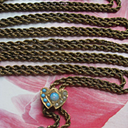 Victorian Ladies Watch Chain Opal Turquoise Seed Pearl Heart Slide